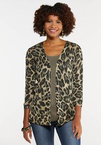 Plus Size Animal Cardigan