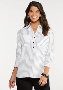 Plus Size Stripe Pullover Woven Top