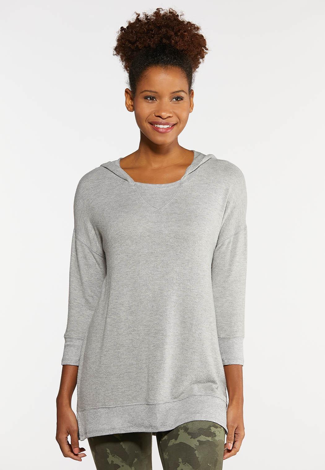 Plus Size Hacci Hooded Sweatshirt