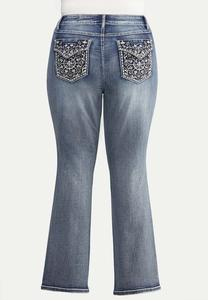 Plus Size Curvy Floral Studded Jeans