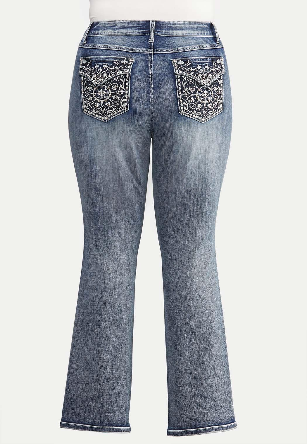 Plus Extended Curvy Floral Studded Jeans