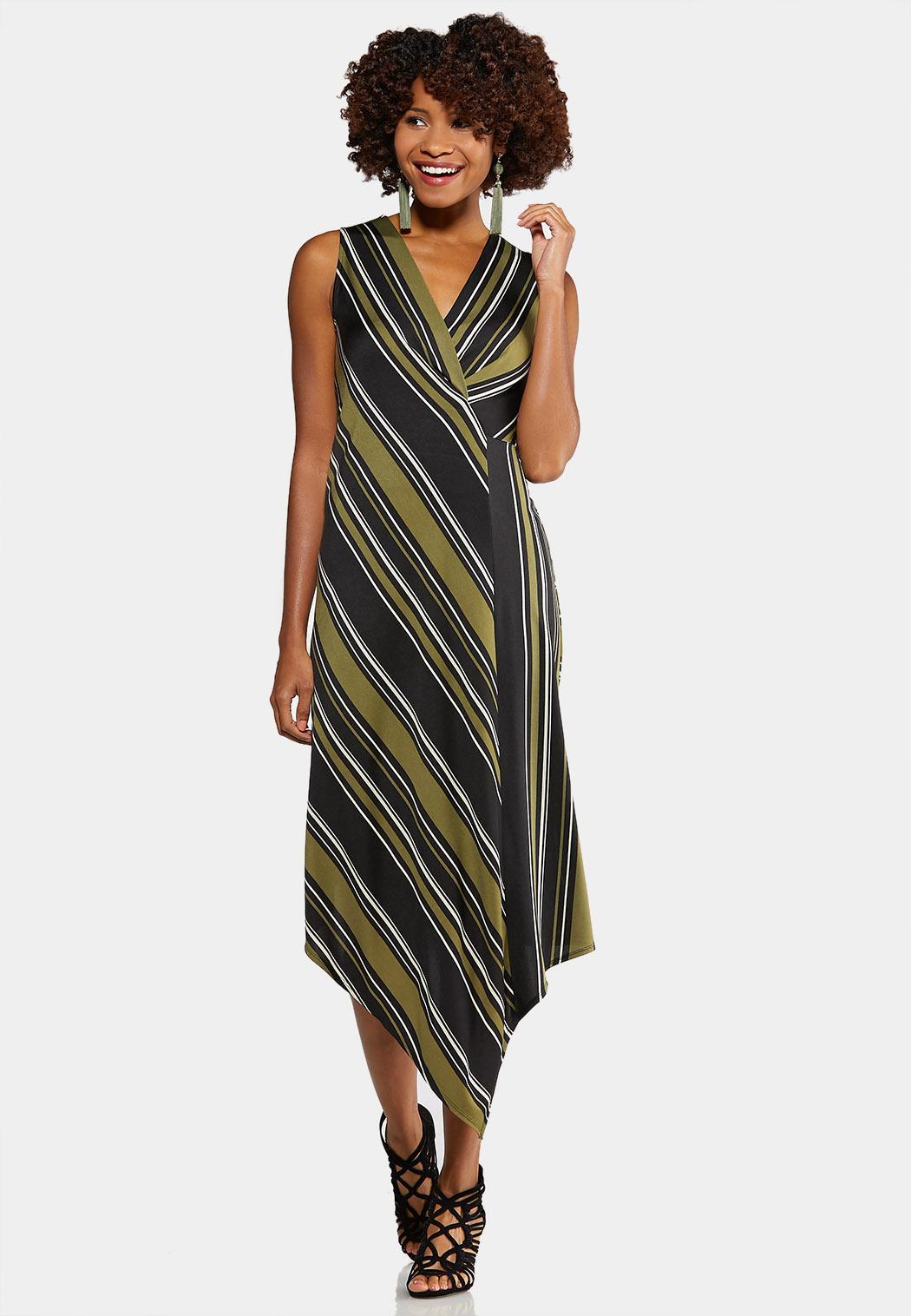Plus Size Striped Asymmetrical Hem Dress