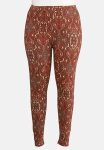 Plus Size Paisley Rust Leggings