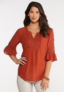 Plus Size Lace Crochet Flutter Top