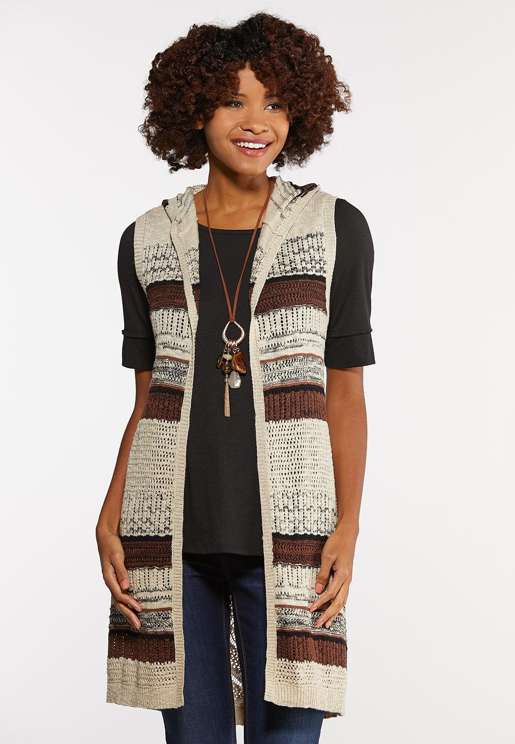Knit Stripe Hooded Vest