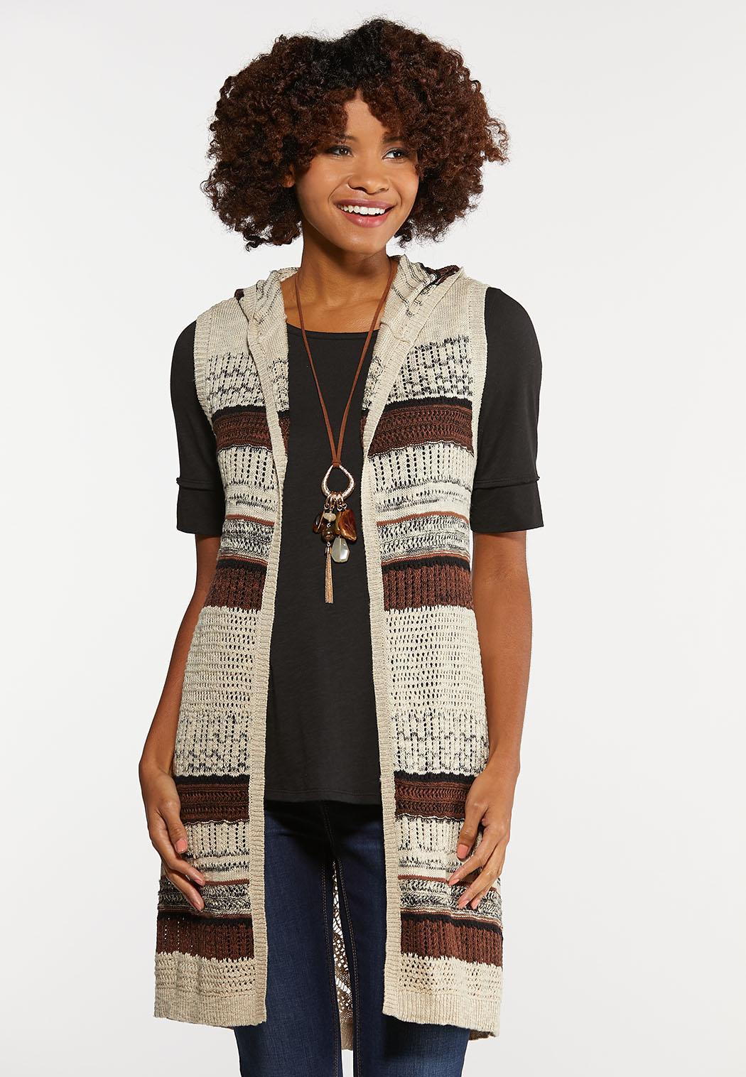 Plus Size Knit Stripe Hooded Vest