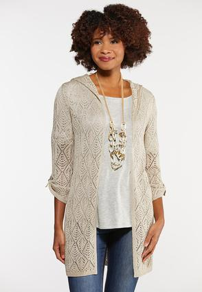 Plus Size Open Knit Hood Cardigan