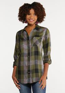 Plus Size Olive Plaid Tunic