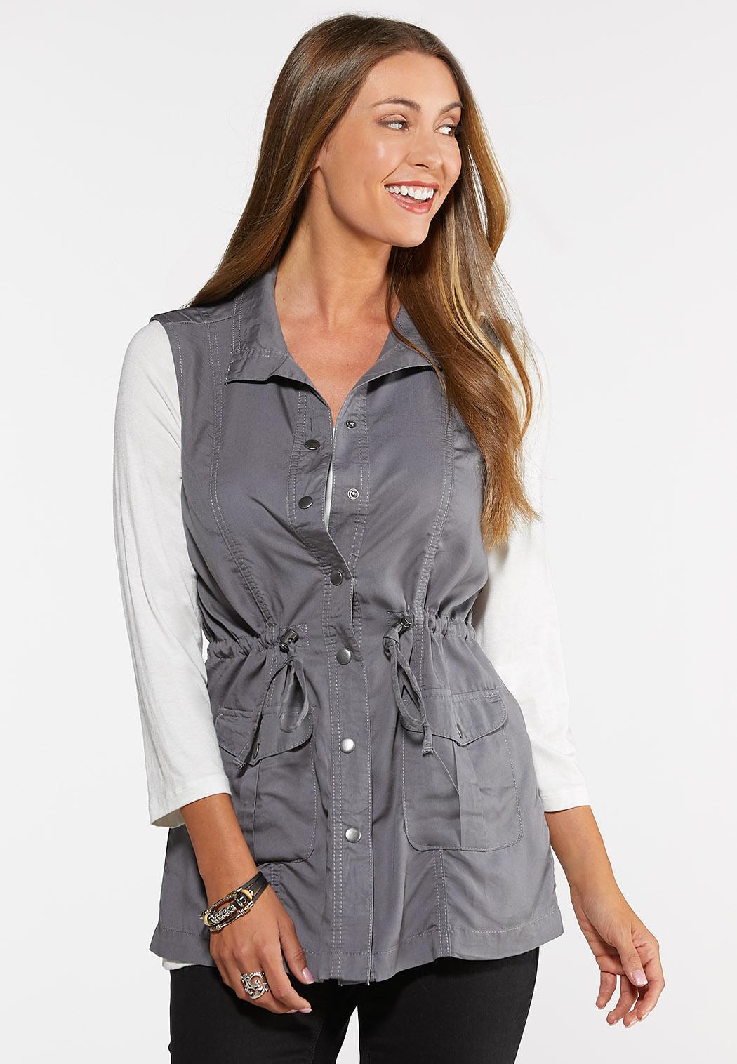 Plus Size Tencel Utility Vest