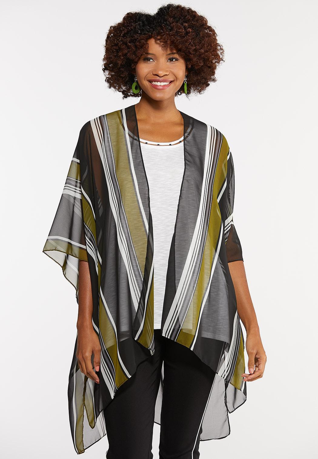 Vertical Stripe Kimono