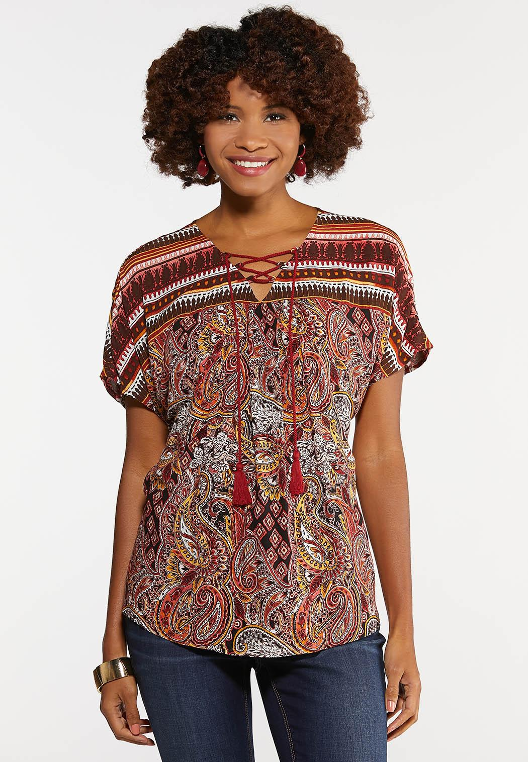Lace Up Paisley Poet Top