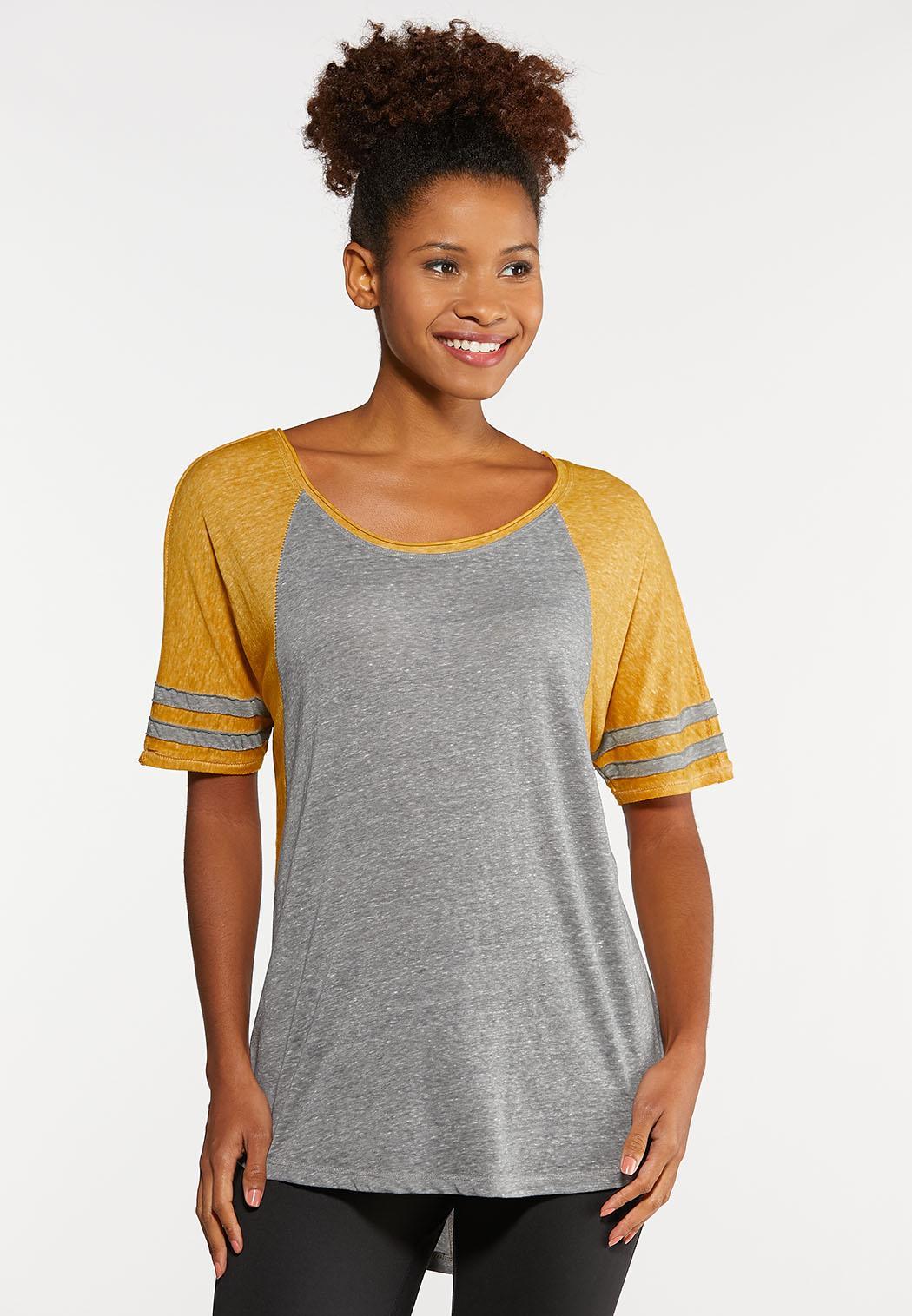 Plus Size Gold Stripe Sleeve Tee