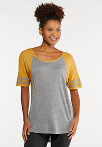 Plus Size Gold Stripe Sleeve Tee