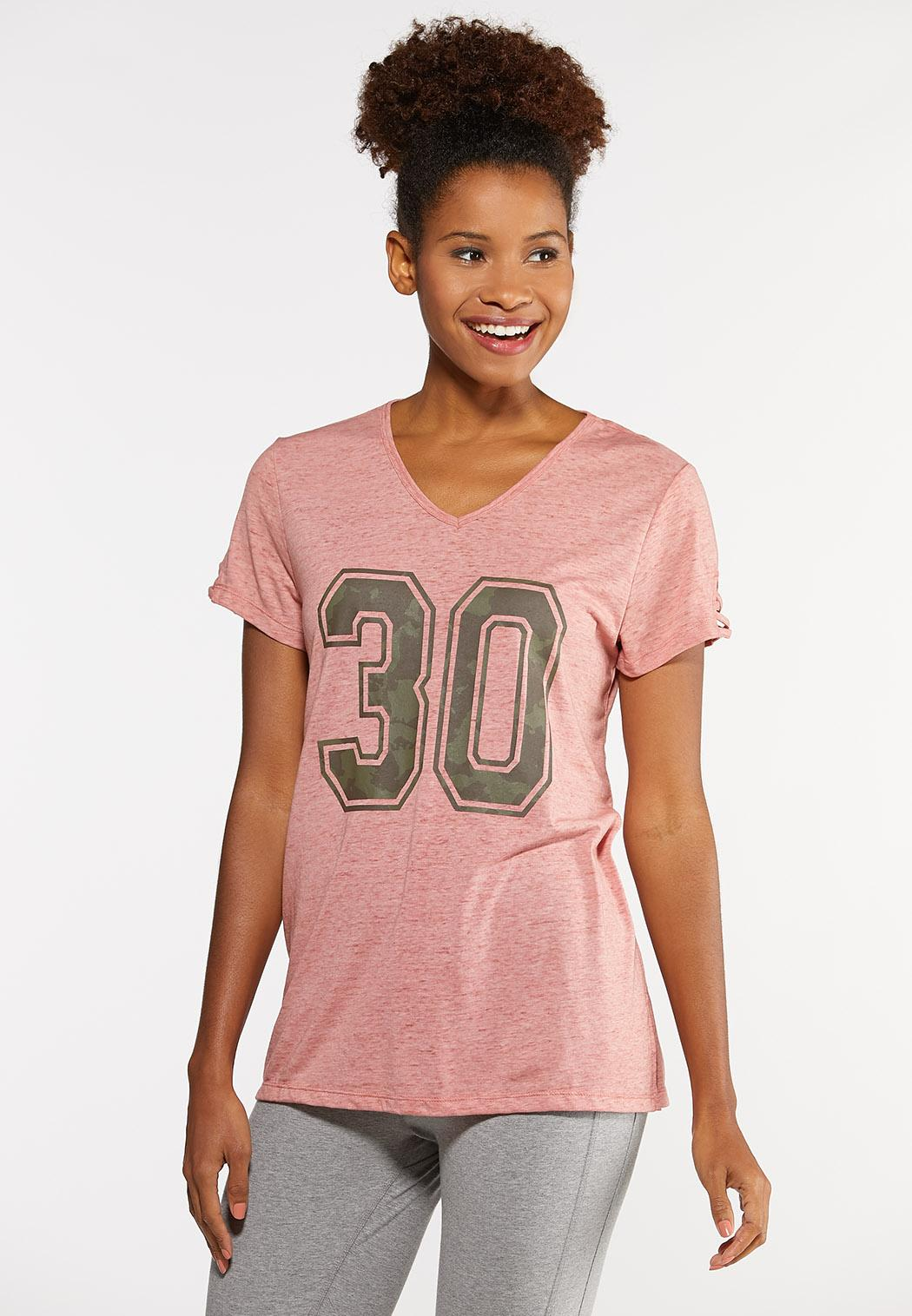 Plus Size Sporty Camo Number Tee