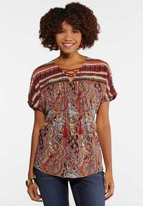 Plus Size Lace Up Paisley Poet Top