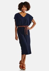 Plus Size Capelet Belted Jumpsuit