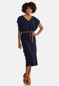 Plus Size Capelet Belted Jumpsuit