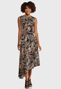 Petite Asymmetrical Puff Paisley Dress
