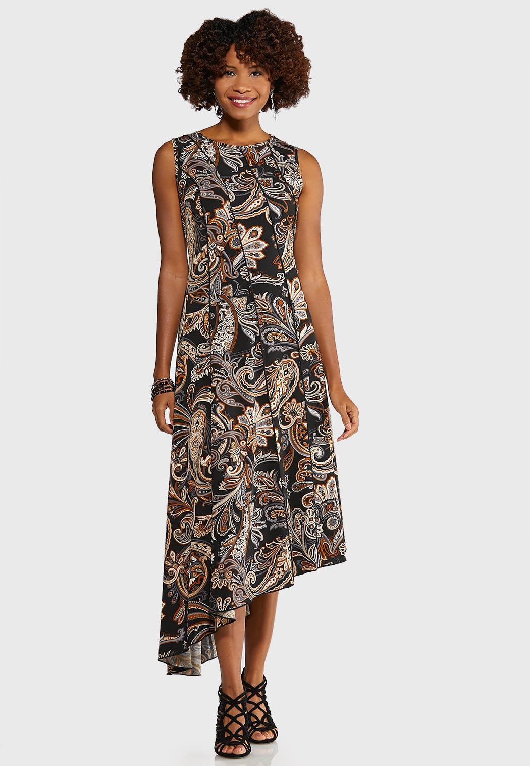 Plus Size Asymmetrical Puff Paisley Dress