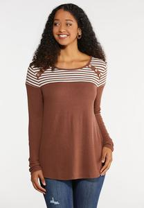 Plus Size Button Striped Hacci Top