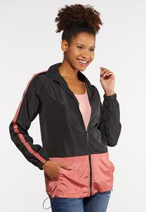 Plus Size Colorblock Windbreaker