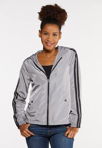 Plus Size Stripe Sleeve Windbreaker