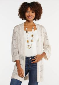 Plus Size Natural Cardigan Sweater