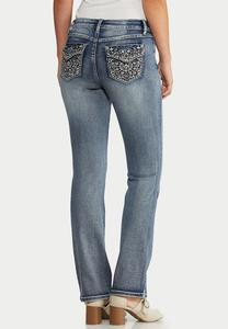 Petite Floral Studded Jeans