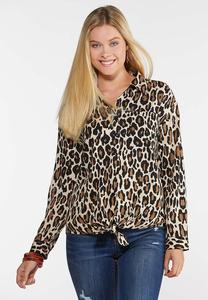 Leopard Tie Front Shirt