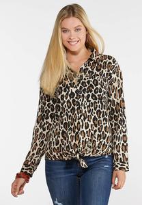 Plus Size Leopard Tie Front Shirt