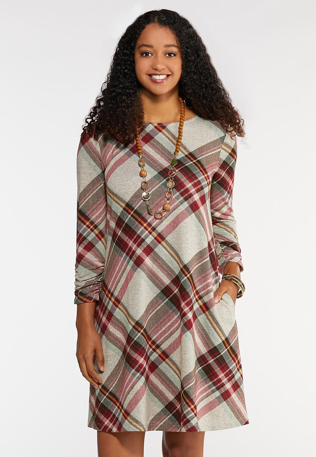 Plus Size Plaid Swing Dress Plus Sizes Cato Fashions