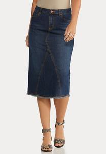 Fray Denim Midi Skirt