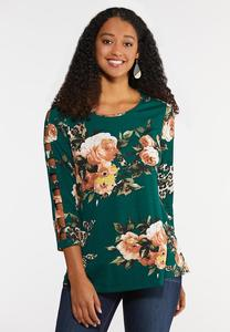 Plus Size Floral Animal Lattice Top