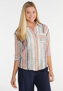 Plus Size Multi Stripe Linen Shirt