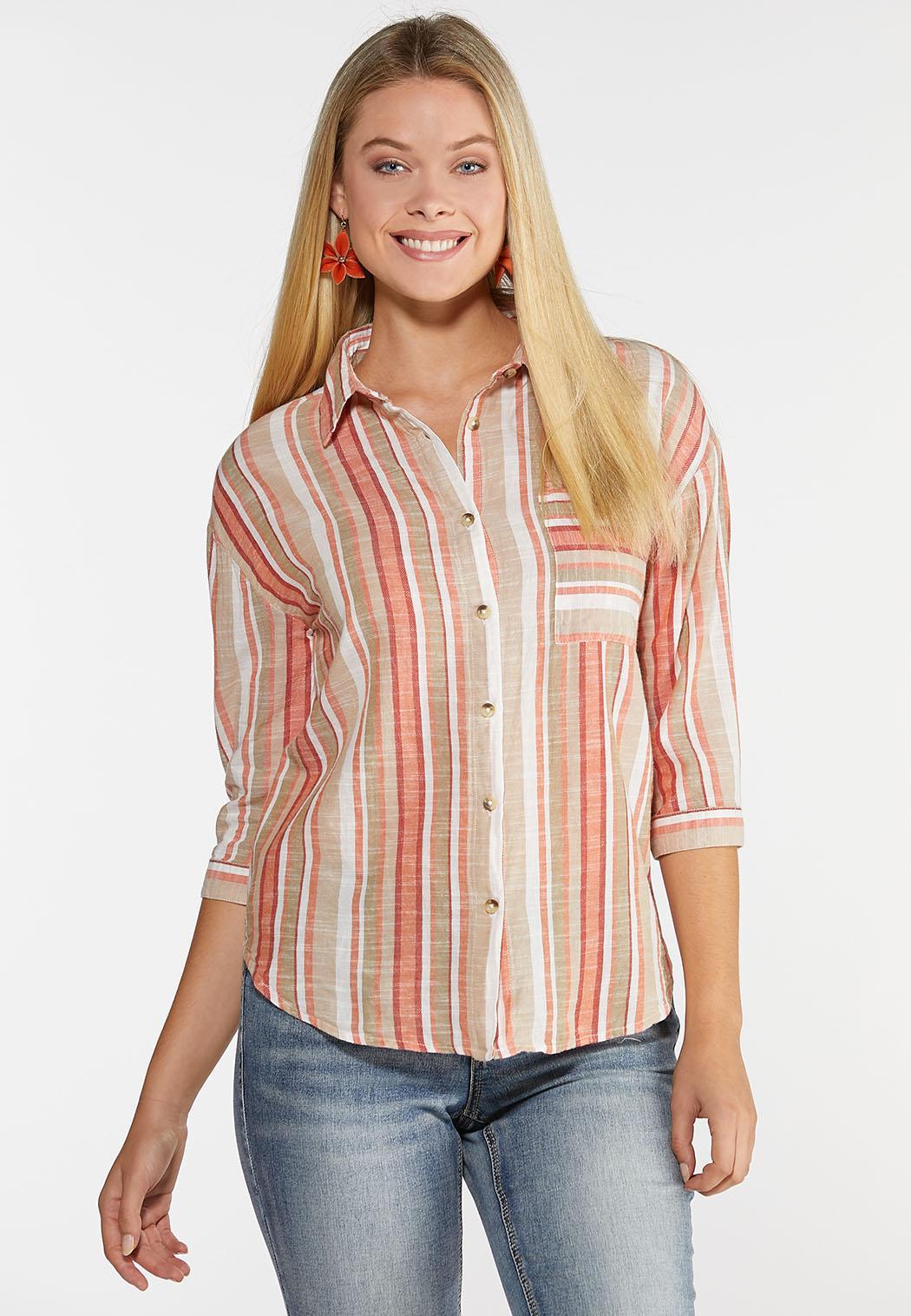 Plus Size Creamsicle Stripe Linen Shirt