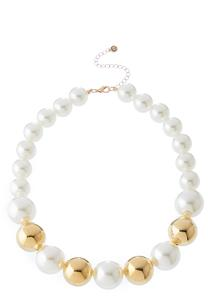 Gold Bead And Pearl Necklace