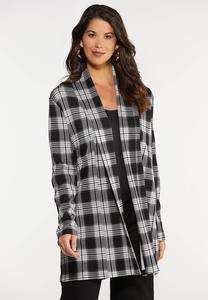 Plaid Knit Tunic Jacket