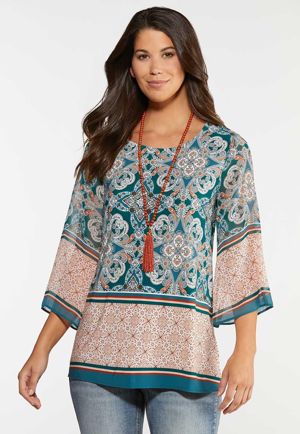 Plus Size Paisley Bell Top