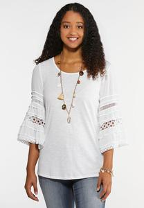 Plus Size Crochet Bell Sleeve Tee