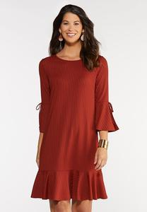 Plus Size Ribbed Flounce Dress