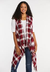 Plus Size Wine Plaid Fringe Vest