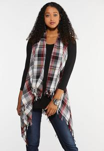 Plus Size Red Plaid Vest