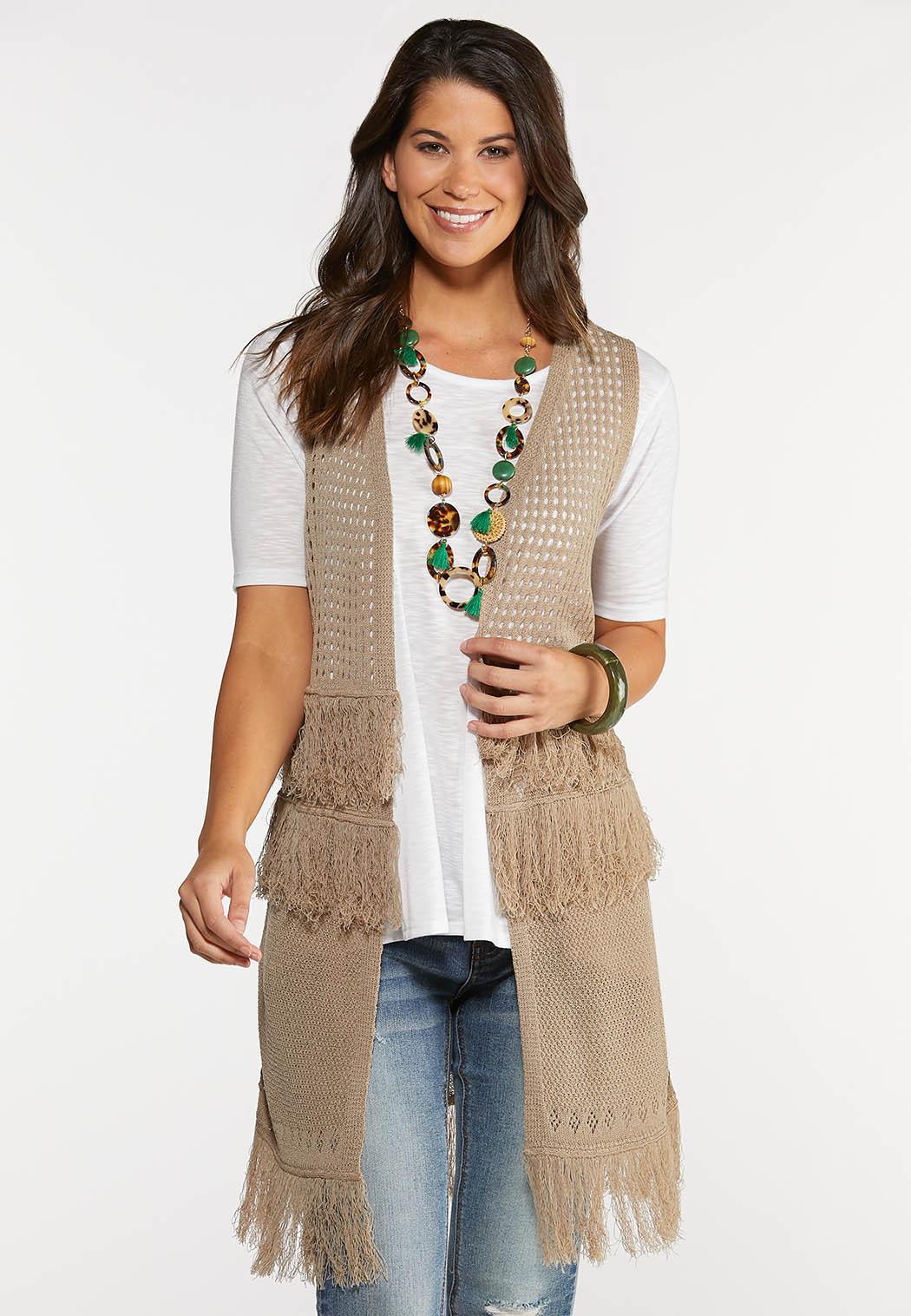Plus Size Fringe Crochet Vest
