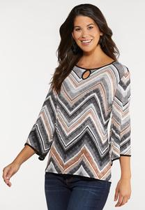 Plus Size Keyhole Chevron Top