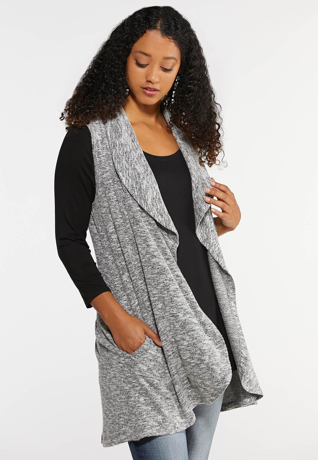 Plus Size Waterfall Pocket Vest Tops Cato Fashions
