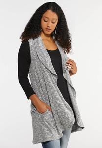 Plus Size Waterfall Pocket Vest