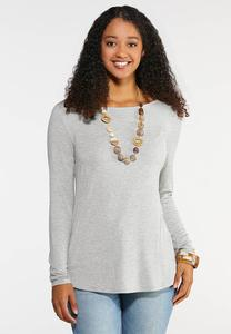 Plus Size Solid Long Sleeve Tee