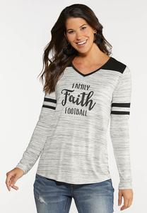 Plus Size Faith Family Football Tee