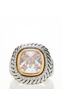 Cubic Zirconia Two-Tone Ring
