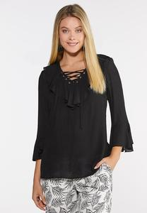 Ruffled Lattice Neck Top
